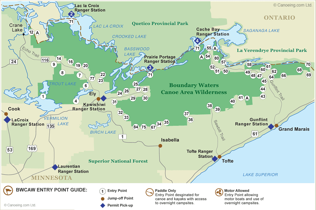 Explore Ely Minnesota Canoeingcom - Us map showing boundary waters minnesota